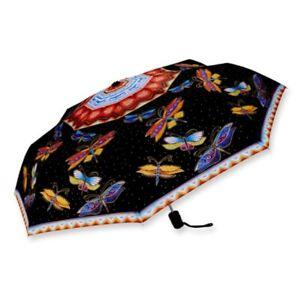 LAUREL BURCH Compact Umbrella DRAGONFLIES ~ Auto Open & Close ~ New