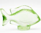 Beautiful LALIQUE Crystal France Green  DAMSEL FISH Art Glass SCULPTURE