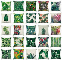 Africa Tropical Plant Printed Cushion Cover Green Leaves Linen Throw Pillow Case