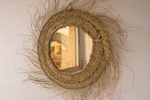 Round wicker mirror, rattan circle mirror, bohemian style, natural hangs mirror