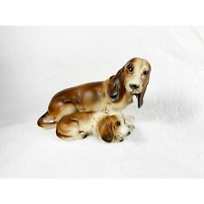 Vintage Mid Century Basset Hound Dog Ceramic Figurines / Lefton Japan