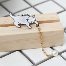 1Pcs Women Vintage Pearl Enamel Lovely Cat Christmas Brooch Pin Breastpin Gift