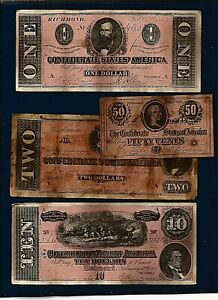 4 obsolete CONFEDERATE Civil War era antiqued Note REPRODUCTIONS notes
