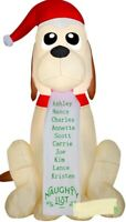 CHRISTMAS SANTA 5.5 FT NAUGHTY LIST DOG PUPPY INFLATABLE AIRBLOWN DECORATION