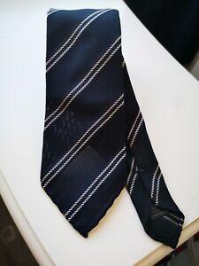 Pink shirtmaker London handrolled grenadine stripe navy silk tie NEW Drake's
