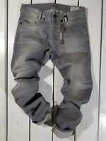 New Diesel Men's Jeans Akee 0853T Regular Slim Tapered Stretch Gray Stonewashed