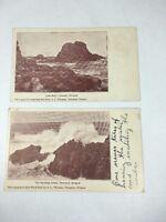 Lion Rock Newport Oregon Ocean Photographic Undivided Back A.L. Thomas Lot of 2