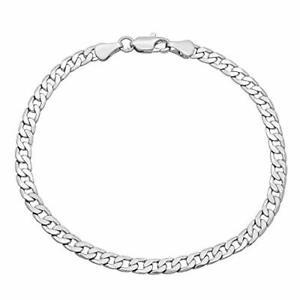 """SALE 9ct 9K """"Gold Filled"""" Curb Link 3mm Bracelet 7.4"""", Ladies Mens Girls Boys"""