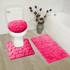 ROCK HOT PINK 3PC EMBOSSED BATHROOM SET RUG CONTOUR MAT TOILET LID COVER BATHMAT
