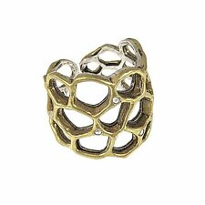 WAXING POETIC Brass & Sterling Silver Swarovski Honey Love Honeycomb Ring Size 8