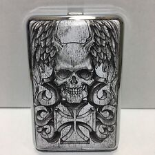 FLYING SKULL WITH IRON CROSS METAL CIGARETTE CASE KING SIZE