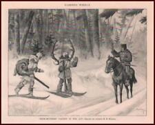 DEER HIDE HUNTERS, CANADA, MOUNTED POLICE by Heming, antique print 1896