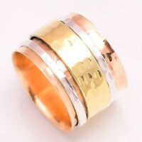 Solid 925 Sterling Silver Spinner Ring Copper Brass Meditation Ring Size Sr50259