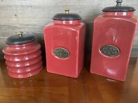 PIER 1 Import Rustic Red 3 PCs Ceramic Canister Set W/ Vacuum Sealed Lid Kitchen