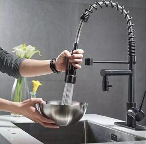 Ausziehbare Gastro Küchenarmatur mit Brause Schwarz Spültischarmatur Wasserhahn