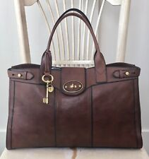 FOSSIL Vintage Reissue Weekender Whiskey Brown Leather Satchel Overnight Bag EUC