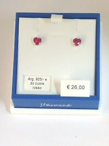orecchini argento 925 rodiato anallergic bluamante zircone rosa punto luce cuore