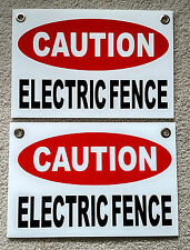"""2 CAUTION ELECTRIC FENCE Plastic Coroplast Signs 8""""X12"""" w/Grommets FREE SHIPPING"""