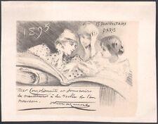 Dillon. Bons voeux 1895 d'Octave Uzanne. Epreuve à grandes marges. Lithographie