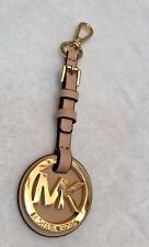 Michael Kors Gold Tone & tan Leather key Fob ring hangtag charm Purse Tag
