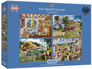 Gibsons 4 x 500 Piece Jigsaw Puzzles - The Farmer's Round
