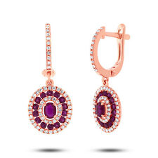 0.45ct Diamond & 1.03ct Oval and Round Ruby 14k Rose Gold Drop Dangle Earring