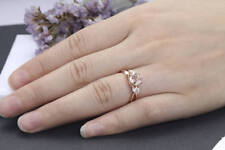 1.20ct morganite & Sim Diamond Engagement Ring 925 Silver 14k Rose Gold Plating