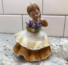 George Z Lefton February Month Birthday Flower Girl Figurine Japan Kw4200 Euc