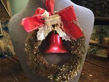 Antique Vintage Bottle Brush Wreath Christmas Tree Ornament Deer~Bell~Balls~Bow