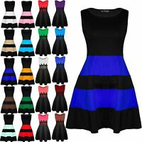 Womens Skater Dress Ladies Block Stripe Panel Sleeveless Flared Franki Plus Size