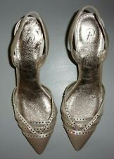 Adrianna Papell champagne pink sling back shoes kitten heel pump with rhinestone