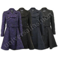 Ladies Coat Wool Mix Womens Tweed Heavy Jacket Long Trench Overcoat Winter New