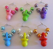 SET OF 6 BABY SHOWER WINE GLASS RINGS CHARMS DUMMIES