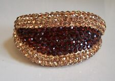 Dressy Gold Finish Lips Shape Rhinestone Party Wear Lady's Fashion Bracelet