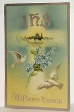 PostCard Ihs A Happy Easter Floral Birds Bethlehem Posted 3-17-1910s Vintage