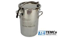 Temco 10 Liter 25 Gallon Stainless Steel Milk Can Wine Pail Bucket Tote Jug