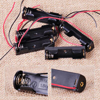 5x Black Plastic Battery Holder Box Storage Case with Wire fit for 1 x 1.5V AA