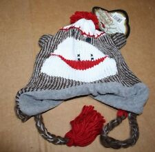 The Original Sock Monkey Knit Winter Hat, Brown, Rounded Ears, NWT