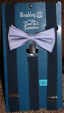 NEW mens WEMBLEY 2-pc BOW TIE & SUSPENDER SET blue DOTS adjust PRE-TIED white