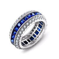 Fashion Women Princess Cut Blue Sapphire 925 Silver Wedding Ring Size 6-10