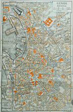 RARE ANTIQUE COLOR MAP of TURIN, ITALY