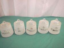 vintage Hazel Atlas 5 jars 5 lids nursery satin glass jars baby