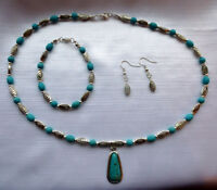 Jewellery Set (Necklace Bracelet & Earrings) Turquoise & Tibetan Silver Beads