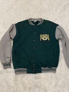 Vtg Men's Majestic Green Bay Packers Varsity Bomber Jacket Sweater Sz L Rare!