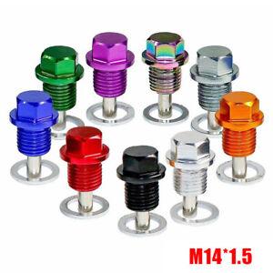 1X Anodized Engine Magnetic Oil Pan Drain Plug Bolt Kits Washer M14x1.5MM Screw