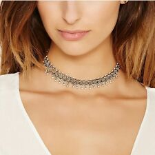 Bohemian Choker Necklace 925 Silver Filled Bell Tribal Charm Boho Gypsy Women