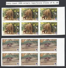 Ivory Coast 1999 Animals 4v imperforate block of 6 MNH