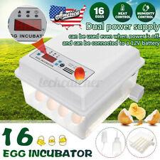 New listing Us Egg Hatcher Double power 16 Eggs Mini Fully Auto Incubators 30W Ac 110-220V