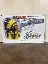 "New ListingVintage 1958 ""Savage Arms"" Guns Gas & Oil Pump Plate 12X8 Inch Porcelain Sign"