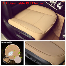 Beige 3D Breathable PU leather Car Front Seat Cushion Chair Protector Seat Cover